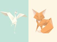 Origami Crane & Fox