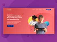Ed Tech landing page homepage hero image landingpage ed-tech kids art direction ui marketing automation online education marketing