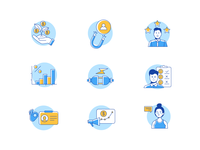 Icons Design for New Project retention campaign analytics customer experience reviews saas icon set icon design iconography marketing ui experience design illustration