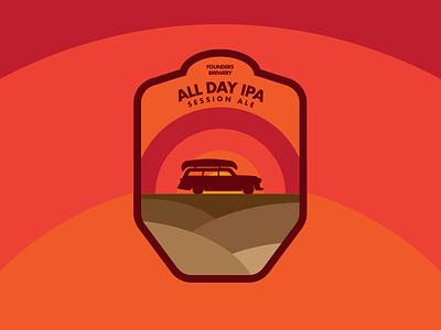 All Day IPA logo sun sticker label ipa beer
