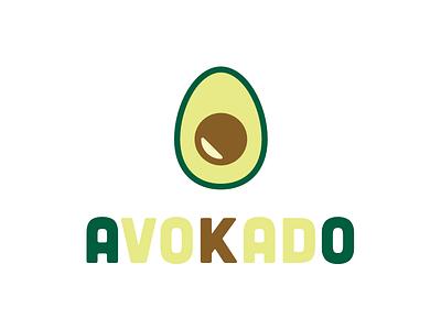 Avokado typography illustration logo design icon branding flat color vector type simple logotype design logo