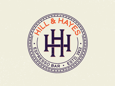 Hill & Hayes Espresso Bar coffee bar coffee espresso orange round circle letters print rough illustration branding typography color type logotype design logo