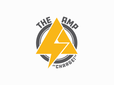 The Amp ddc hardware ddc lightning bolts lightning bolt superhero lightning icon logo design flat typography branding vector color type simple logotype design logo