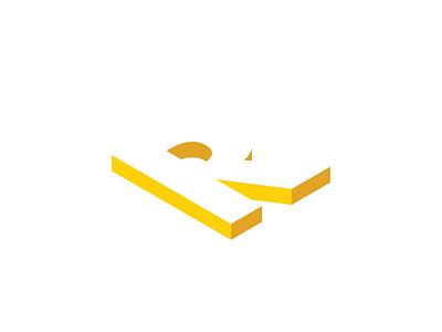 R Dimension Logotype shadow yellow graphic design design logotype isometric logo isometric 3d dimension logo r