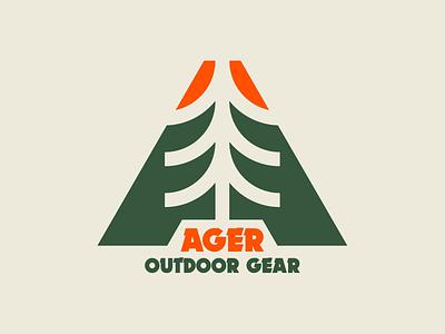 Ager Outdoor Gear design flat logo design vector branding type simple logotype logo outdoor logo dynamo mountain trek woods tree outdoor gear gear ager outdoor