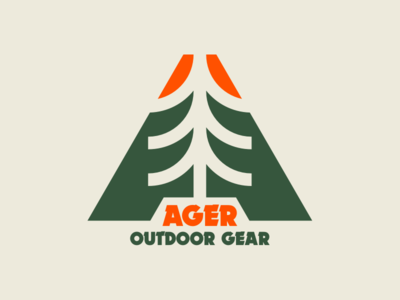 Ager Outdoor Gear design flat logo design vector branding type simple logotype logo outdoor logo dynamo mountain trek woods tree outdoor gear gear ager outdoor
