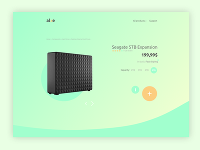 Product page clean simple minimal green shop product page