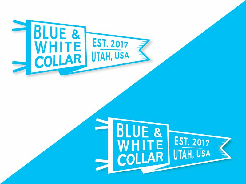 Blue and White Collar Pennant logo illustrator salt lake city utah