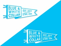 Blue and White Collar Pennant