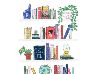 Steph book art crazy rich asians harry potter procreate doodle plant shelves book bookcase
