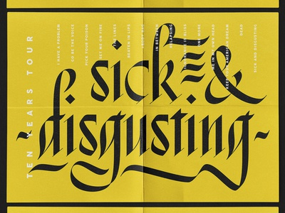 Sick & Disgusting Poster poster music typography lettering