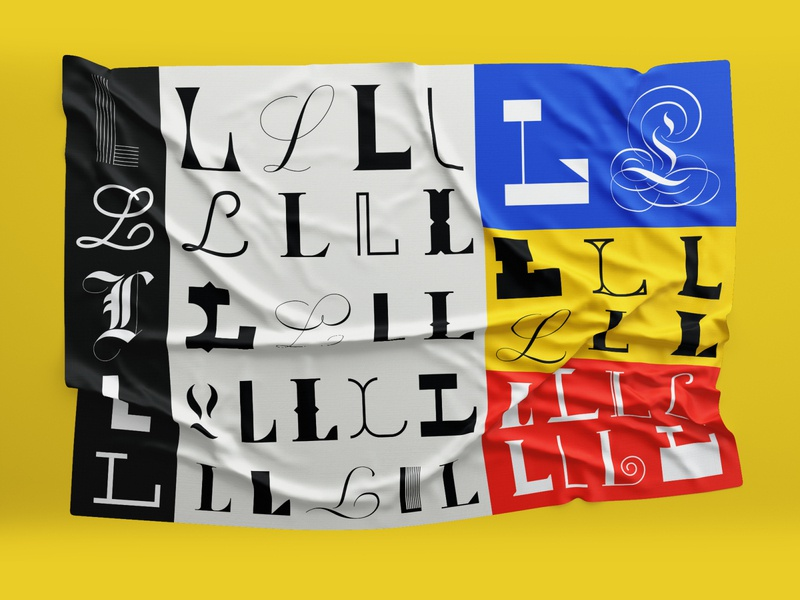 L flags vector typography colors design type lettering illustration