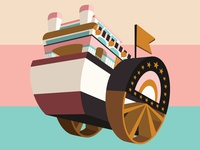 Riverboat Funky 3D riverboat vector colors design illustration