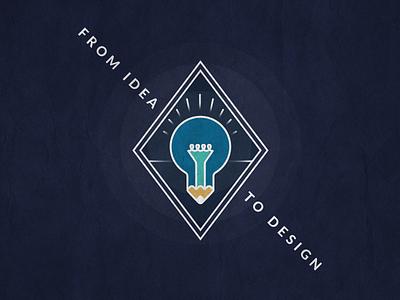 From Idea to Design texture pencil typography lamp design idea blue emblem icon