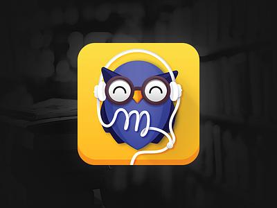 Monologue app Icon audiobook headphones smart bird glasses purple yellow blue application icon application owl