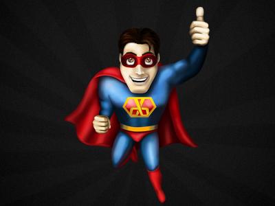 Bissdataman fly thumb human red blue man character superman