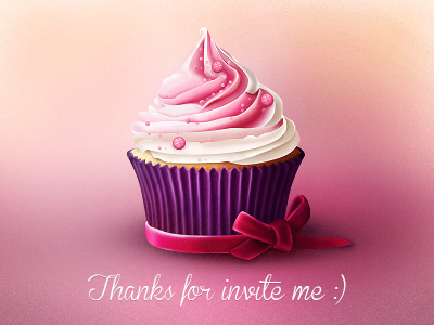 Dribbble Cupcake lovely wellcome sweet illustation cake cupcake invite pink dribbble