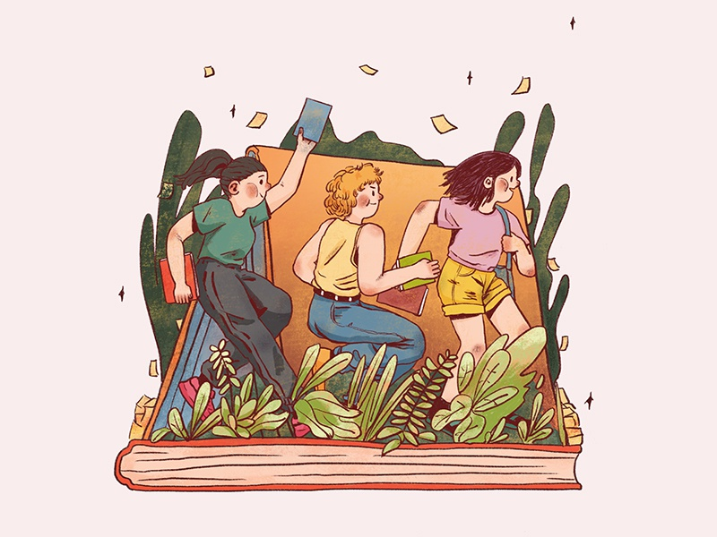 Illustrations for old book sharing party book illustration