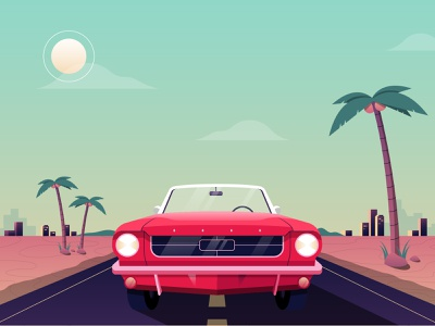 VROOM dessert sunny california skyline city palm tree highway illustrator illustration retro mustang drive car