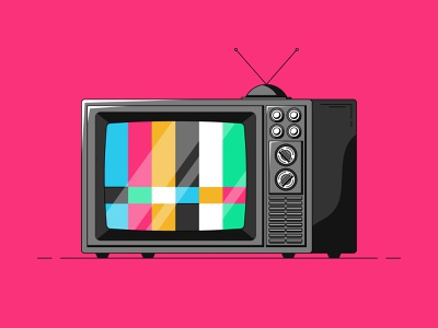 TV pink glare color antenna vcr old vintage retro illustrator illustration television tv