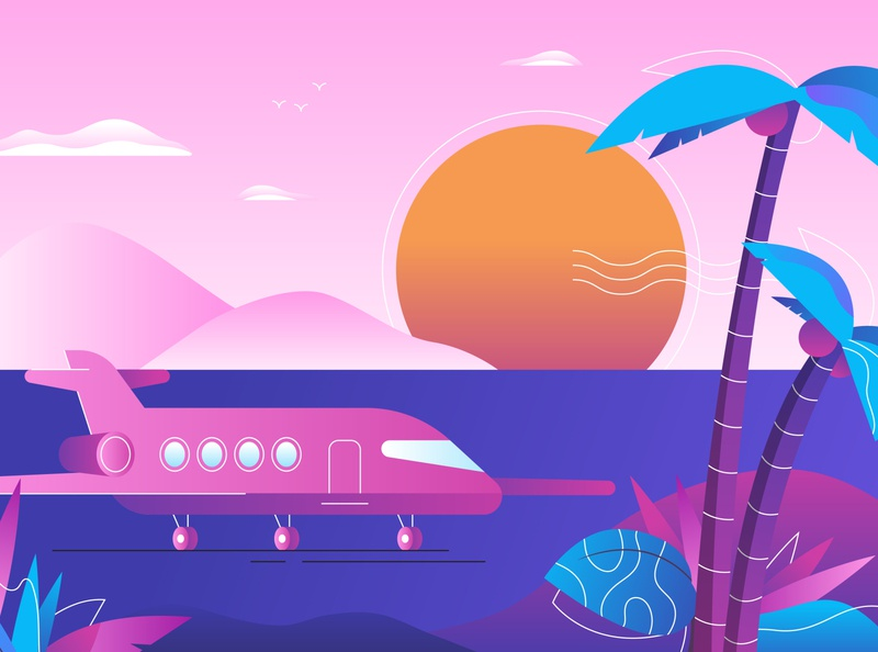 Paradise coconut sunrise sun gradient plants sunset private jet palm tree illustrator illustration jet airplane
