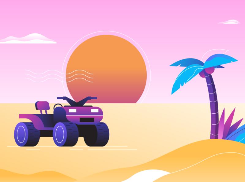 Paradise Drive gradients gradient illustration illustrator dunes sand explore drive palm tree paradise sunset sunrise atv