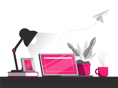 Working From Home screen paper airplane picture book lamp laptop plant coffee mug illustration illustrator desk home