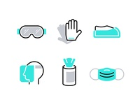 PPE vector healthy health coronavirus covid-19 covid19 face mask mask wipes head gloves goggles ppe medical iconography icons
