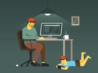 Working from home office coffee home play switch kids illustration illustrator hat desk wfh computer work