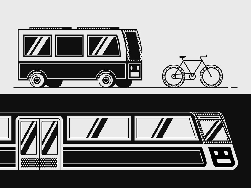 Commute black  white traffic road vector illustration subway transportation commute bike bicycle train bus
