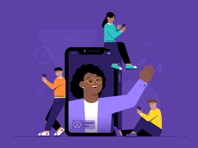 Video Chat smartphone hello wave cellphone phone video call video chat facetime vector design illustrator illustration