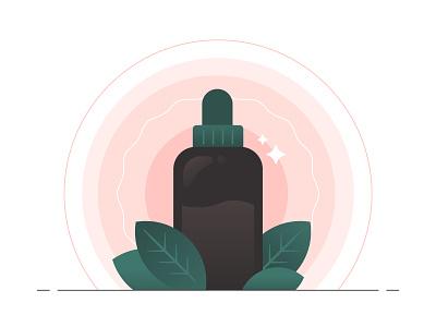 Essence character person illustrator pink flower dropper bottle dropper droplet drop aura essential oils leaf bottle essence essential oil