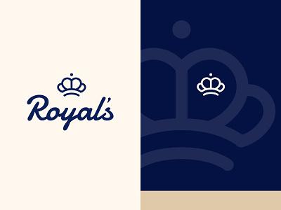 Royal's cherry logo coffee design typography blue crown logo crown script logo bakery logo bake bakery logo design