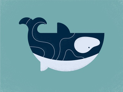 Oh Whale swiming pnw sea waves grain illustration illustraor texture ocean water whale orca