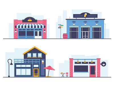 Neighborhood illustration illustrator architechture neighborhood ice cream bakery brewery coffee building seattle