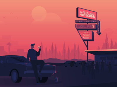 Seattle Summers illustrator fast food motion graphic car hamburger diner sunset illustration pnw burger summer seattle