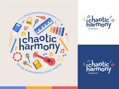 Chaotic Harmony flute xylophone piano guitar ukulele podcast school elementary illustrator illustration logo design logo music
