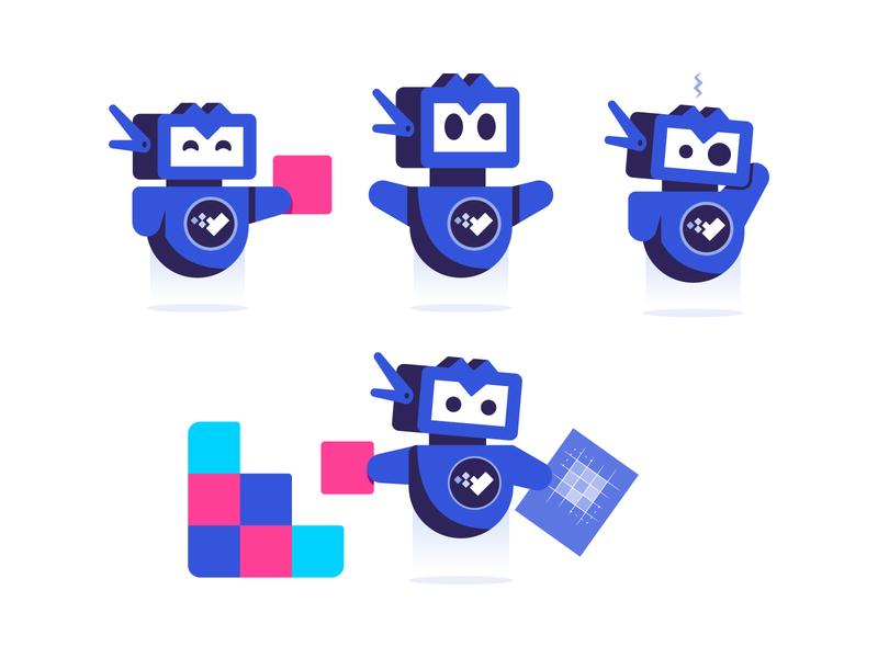 Meet Vee excited confused robots blueprint build v emotions emotion robot character design character illustrator illustration