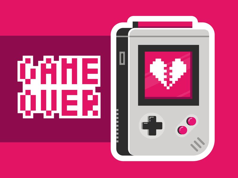 Game Over games game 90s pixel broken heart heartbreak heart controller game console nintendo game boy game over
