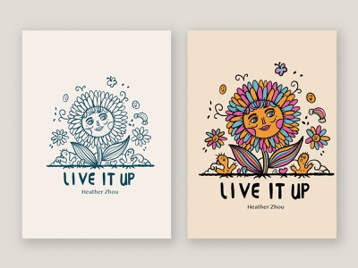 Live It  Up typogaphy pattern line art drawing graphic illustration character cartoon