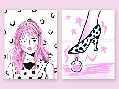 Pink is a girl's favorite color fashion ipad pink woman procreate vintage illustration