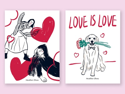Days of love dog pet love valentine character cartoon graphic illustration