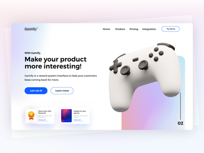 Gamify - Gamification solution landing page vivid vibrant api gamer gamestore games app gamified gamification games landing website webdesign uiux design userinterface ux ui