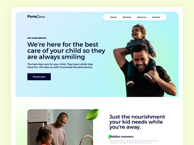 PureCare Children's day care landing colors care medical care medical toys toddlers kids children daycare webdesign userexperience uiux design userinterface ux ui