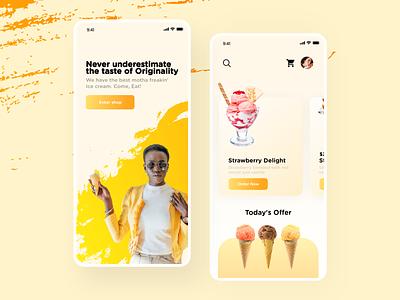 Verizon Ice cream ordering app ui design food order desert illustration best shot uidesign uiux userexperience color pellete color mobile app mobile sweets icecream artistic ux ui