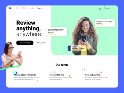 Review platform landing page color best shot illustrator artistic music movie app reviews book books imdb webdesign userexperience uiux design userinterface ux ui