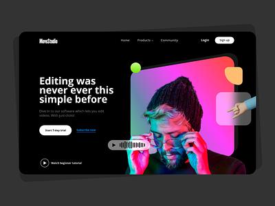 Image & Video editor app landing page gradient app design application website ui design best shot artistic color pellete color uiux userexperience webdesign design userinterface ux ui