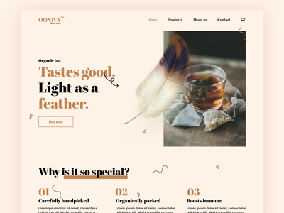 Ooniva - Organic tea landing concept uxui uiux organic best shot website webdesign minimalism userexperience artistic tea color pallete colorscheme colors design userinterface ux ui