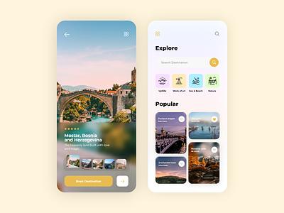 Travel app interace glass ui glassmorphism travelling app travel agency travel travelling travel app ios application app userexperience uiux design userinterface ux ui