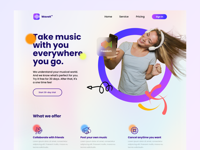 Music app landing page design best shot gradient colorscheme colors music player music app music landing website webdesign minimalism userexperience uiux design userinterface ux ui
